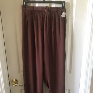 New York & Co Brown Belted Pull-on Pants